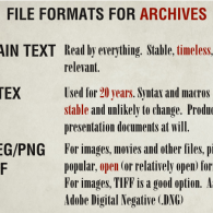 File Formats for Archives