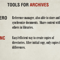 Tools for Archives