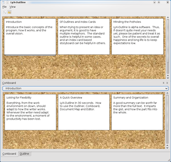 LyX-Outline Corkboards (Linux)