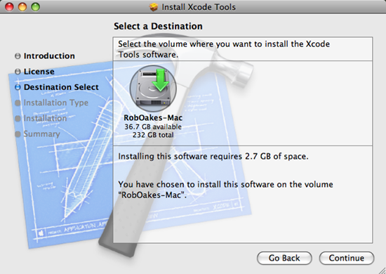 Select the installation disc where you want to install XCode the developer tools