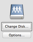 "Select ""Change Disk"" from the Time Machine configuration pane under ""System Preferences."""