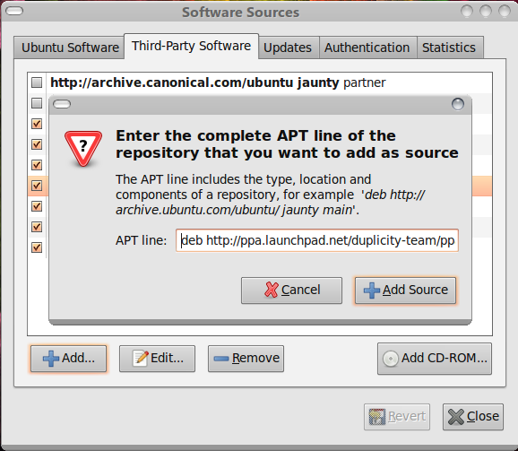 Time Drive 0.2 - Software Sources Dialog