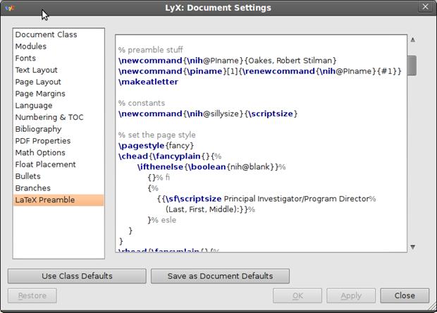 Customize LyX - Document Preamble