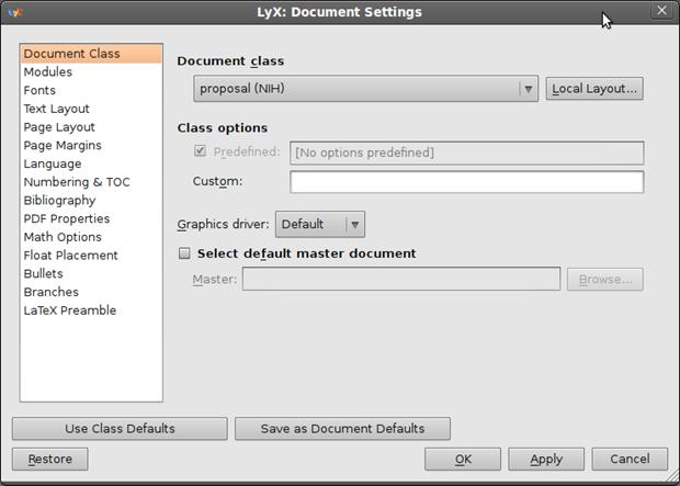 Customize LyX - Document Settings