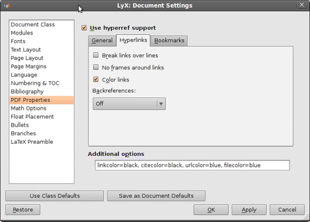 Customize LyX - PDF Properties