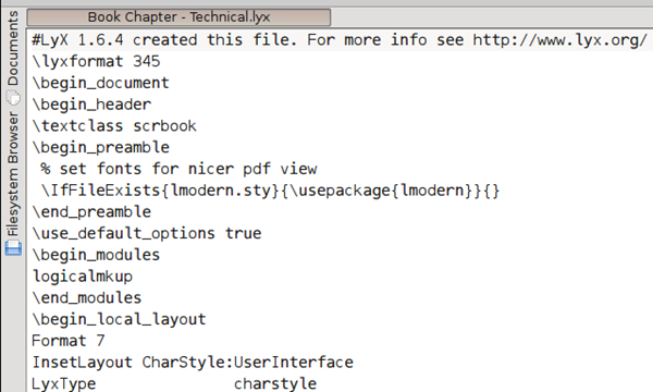 A sample LyX document for a technical book chapter.
