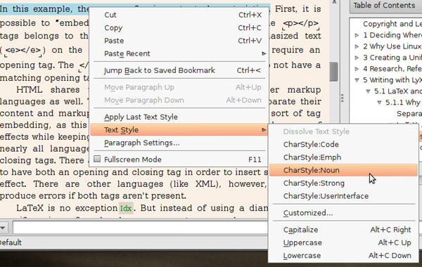 """You can add a character style to a document either through the """"Edit"""" menu, or by selecting a block of text and then right clicking on it."""