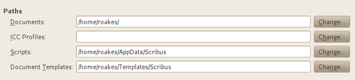 Scribus - Preferences - Paths