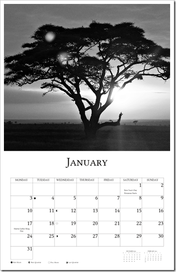 2011 Calendar - Africa January