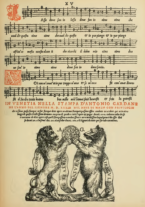 Music Page Engraving from Venetian Hymnal