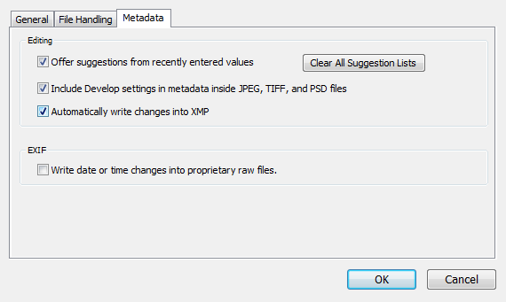 Step 2: Enable XMP Side Car Files