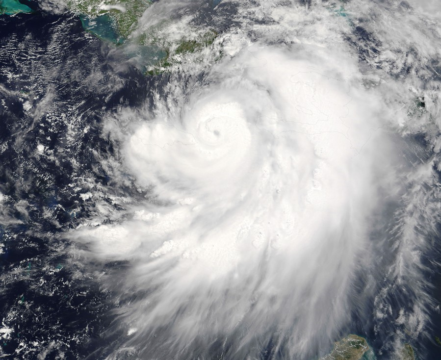 Satellite image showing a tropical storm