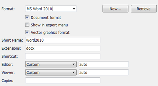 Word 2010 File Format Settings for LyX